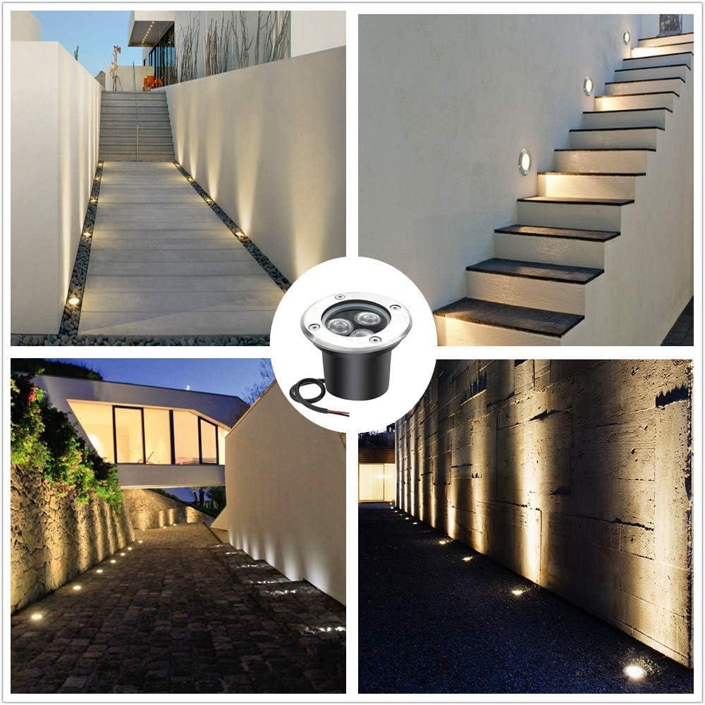 LightingWill 3W LED en luces de tierra, luces de paisaje al aire libre, luces de camino, blanco cálido, 300 lúmenes, baja tensión IP67 DC 12V (8P): Amazon.es: Iluminación