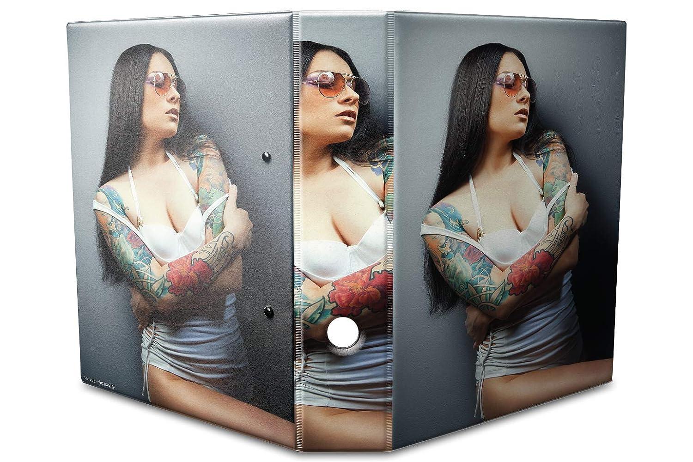 Archivador A4 Carpeta 2 anillas 60mm impreso Chica sexy tatuajes: Amazon.es: Hogar