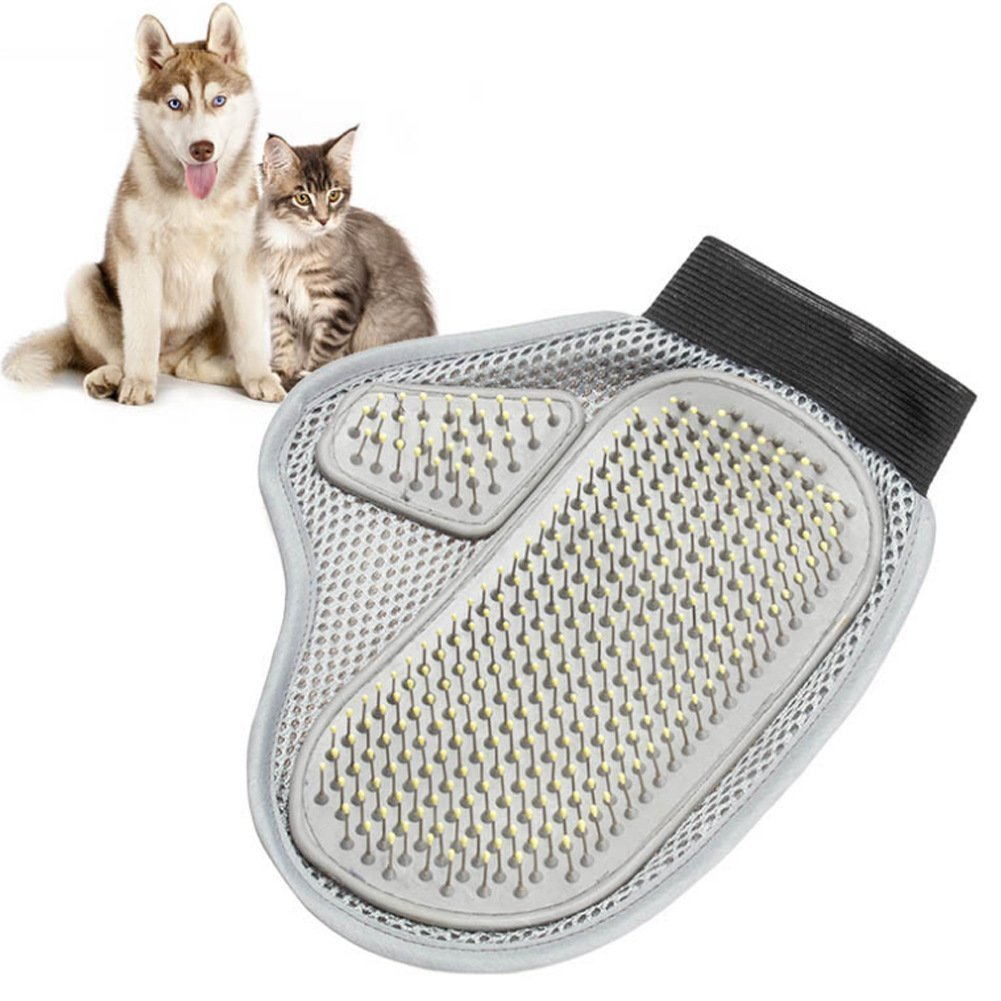 SIMPLEST LIFE Pet Gentle Grooming Hair Remover Mitt Cat and Dog Grooming Brush Glove-Gray