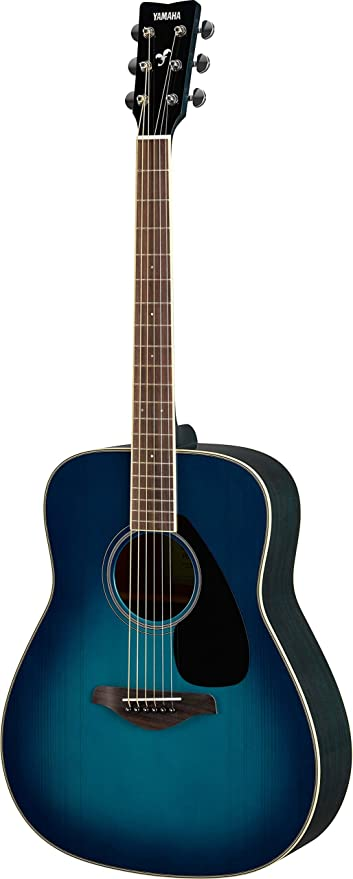 Amazon Com Yamaha Fg820 Solid Top Acoustic Guitar Sunset Blue