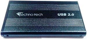 Storite-Technotech USB 2.0 Aluminum External Hard Drive Enclosure Case Supports 2.5-inch IDE/PATA Drives (Black)