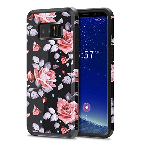 check out b8066 4c5a9 Galaxy Note 8 Case for Girls Women, Samsung Note 8 Floral Case, OEAGO  Shockproof Heavy Duty Protection Dual Layer Armor Protective Case Cover for  ...