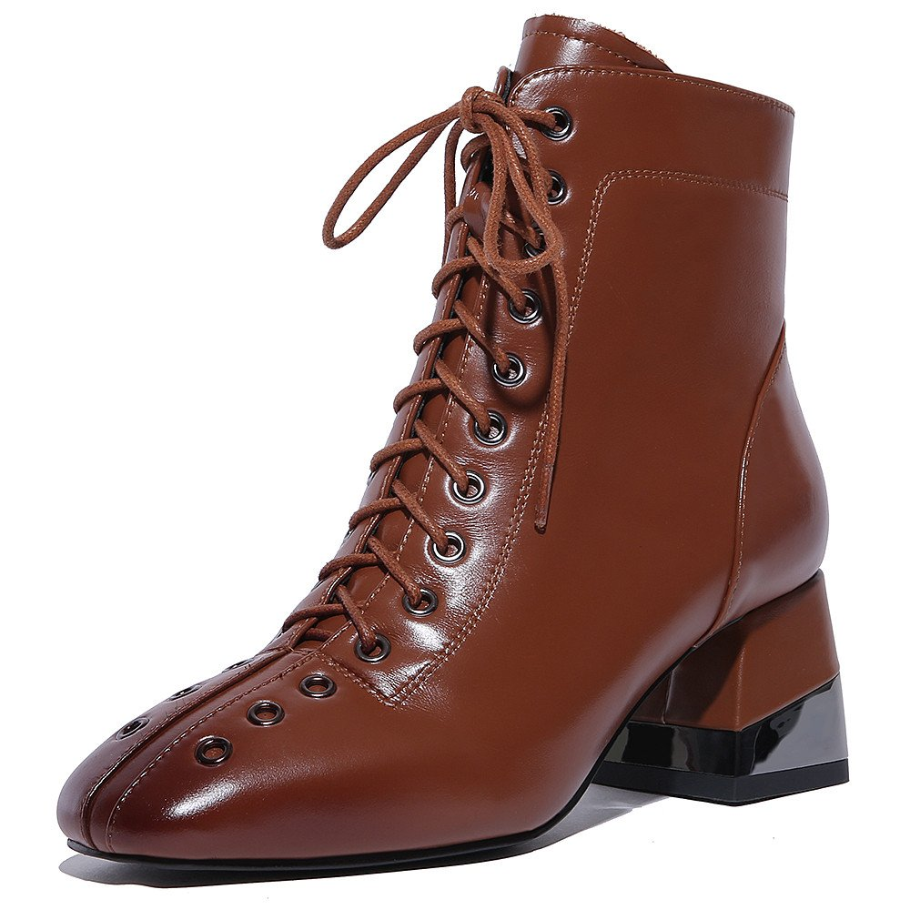 Nine Seven Genuine Leather Women's Square Toe Chunky Heel Handmade Fashion Ankle Boots With Lace Up B075WPDGV7 7.5 B(M) US|Brown