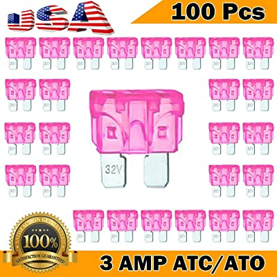 Kodobo 100 Pack Auto Fuses 3 AMP ATC/ATO Standard Regular Fuse Blade 3A Car Truck Boat Marine RV - 100Pack: Automotive