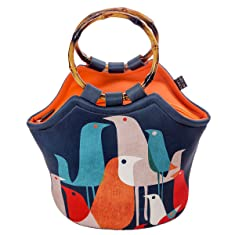 "Large Neoprene Lunch Bag Purse by ART OF LUNCH - 11"" X 15"" X 6"" Reusable Insulated Lunch Bag with Added Inside Pocket - Design by Budi Kwan (Indonesia) - Flock of Birds"
