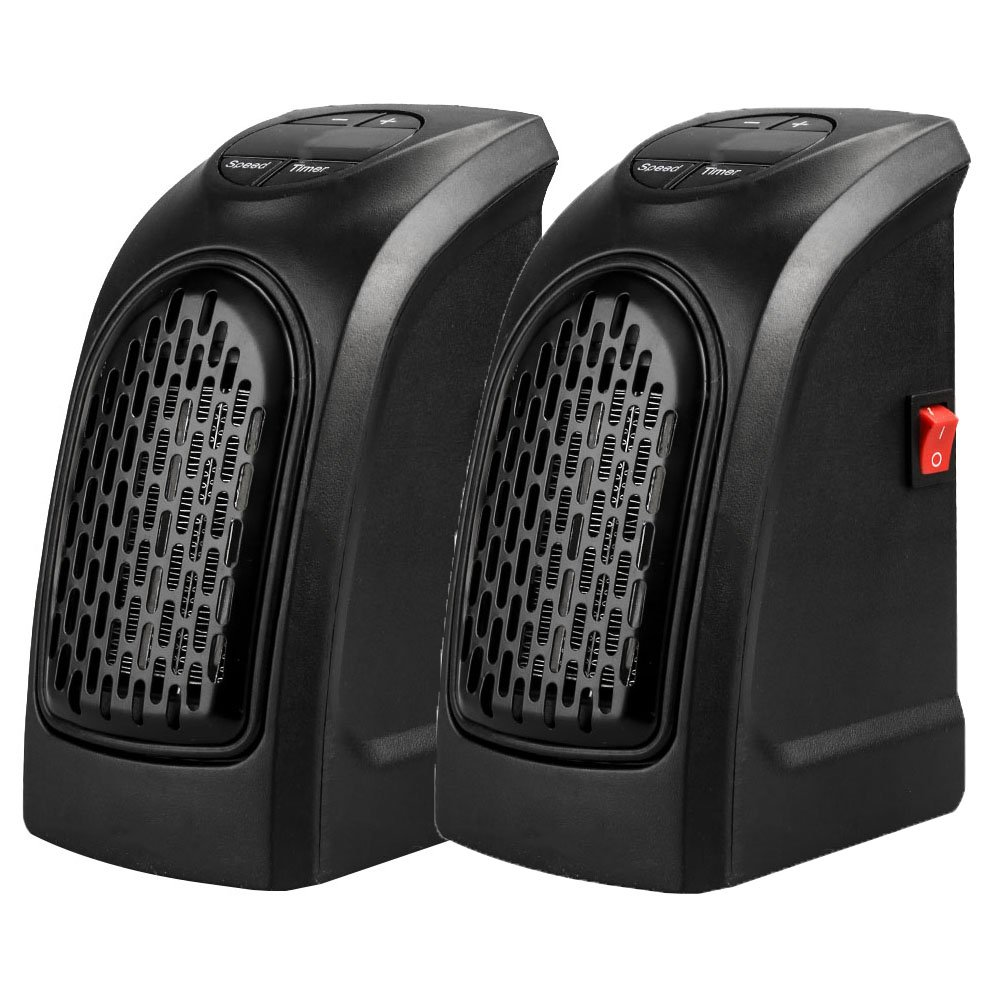 Chige 2 Pack 350W/400W Mini Space Heater, Wall Space PTC Heaters with Adjustable Thermostat for Home Bedroom, Personal Desk Heaters for Office (2 PCS)