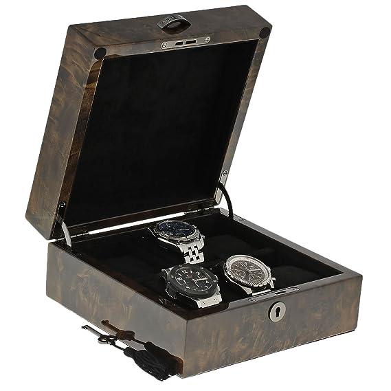 Aevitas - Caja de coleccionistas de relojes de madera oscura de alta calidad para 6 relojes