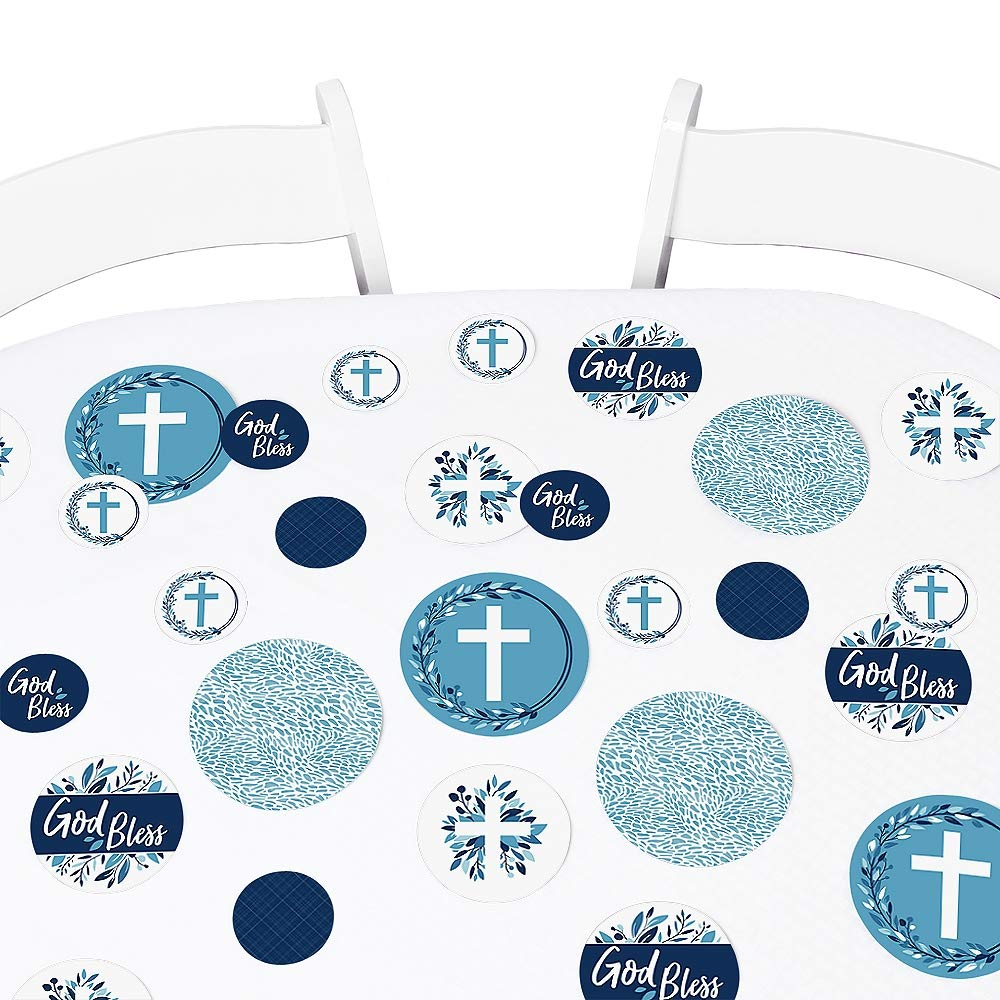 24 Count DIY Shaped Boy Religious Party Cut-Outs Big Dot of Happiness Confirmation Blue Elegant Cross