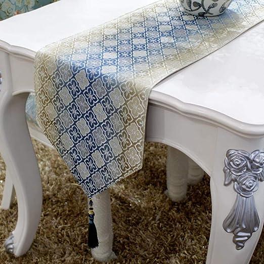 Camino De Mesa,Jacquard Vintage De Oro Bandera De Mesa Flor Azul ...