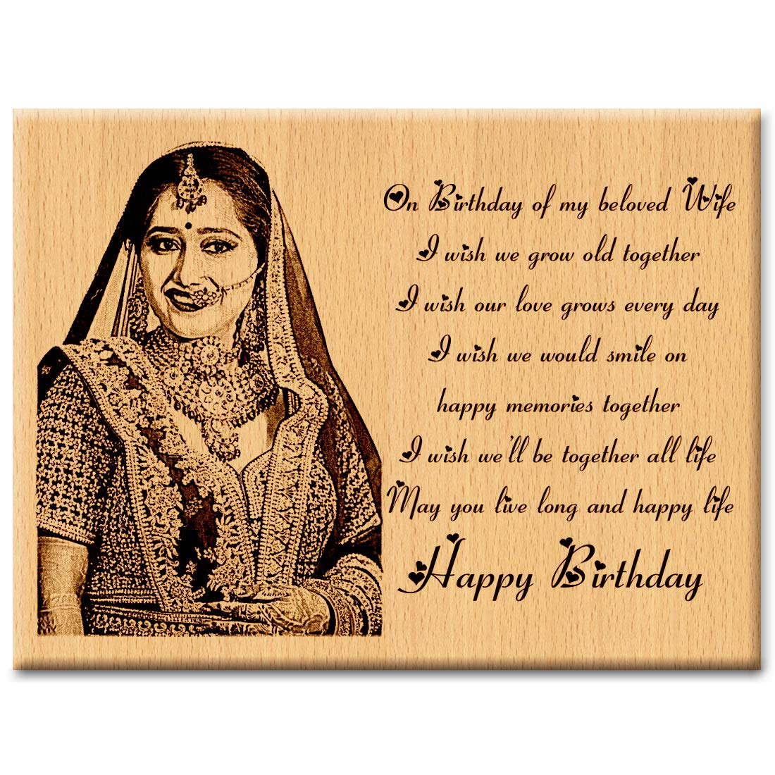 Buy Incredible Gifts India Unique Personalized Engraved Photo Plaque Gift For Wife 6 X 8 Inches Wood Beige Online At Low Prices In India Amazon In