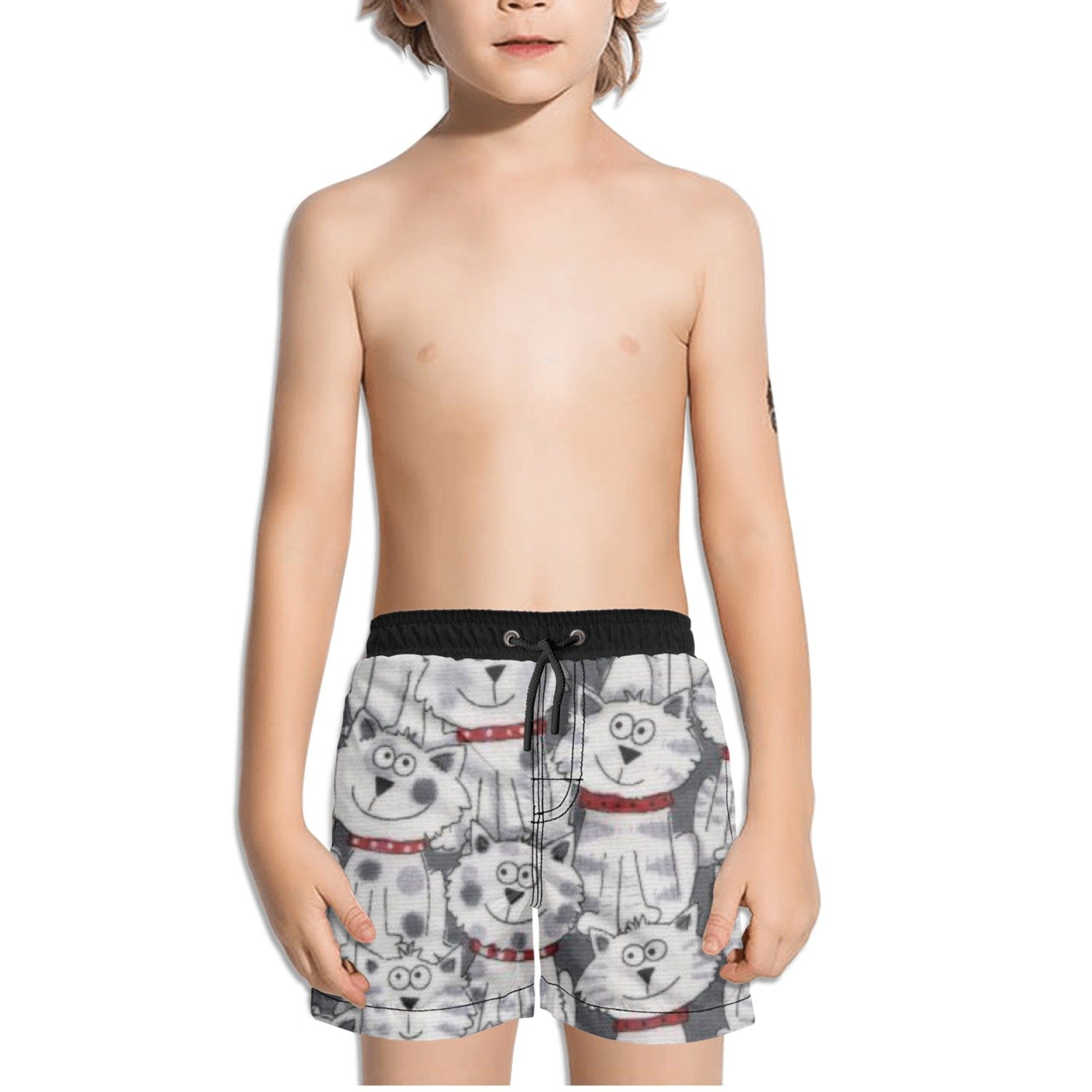 Ouxioaz Boys Swim Trunk Seamless Cats Beach Board Shorts