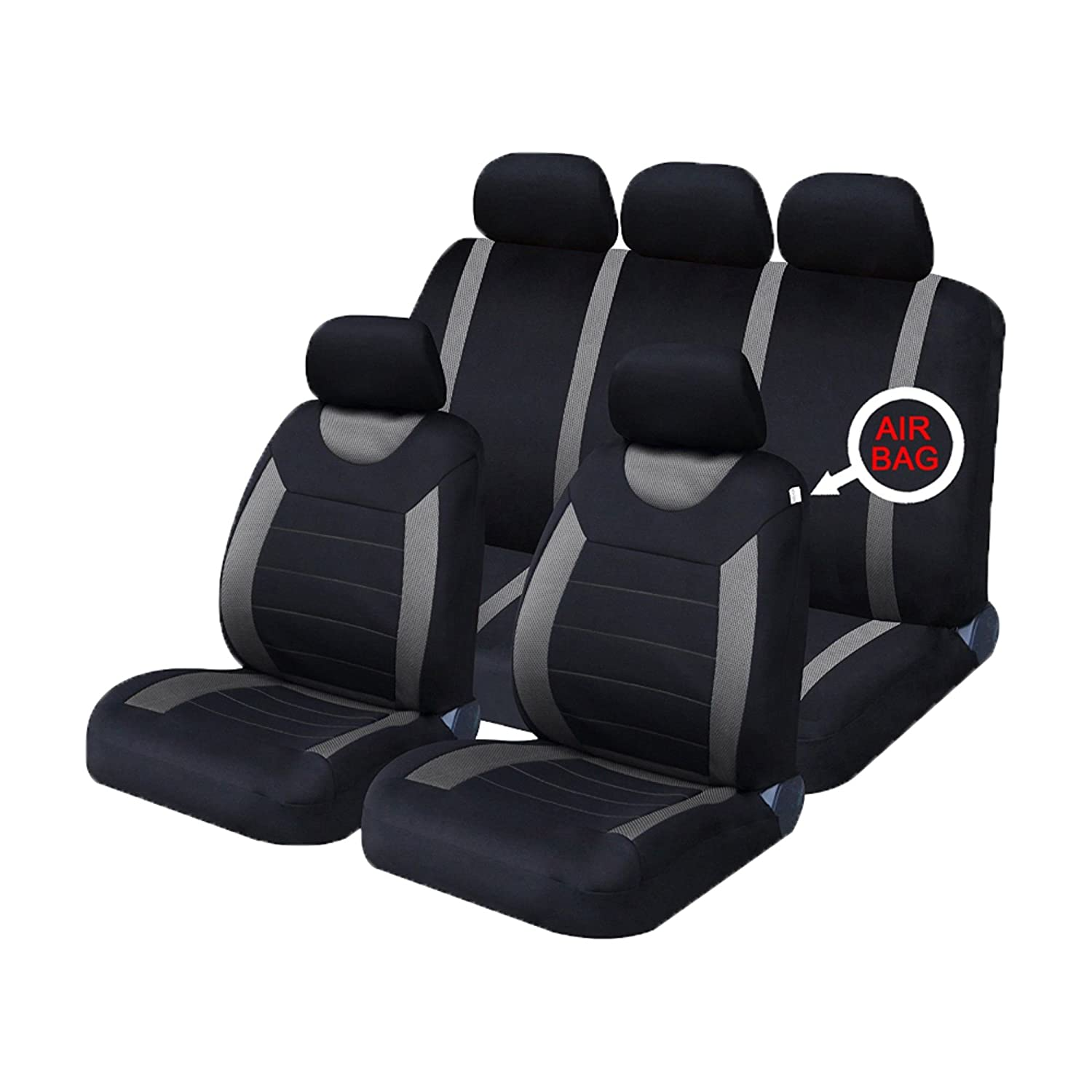 universal car seat covers full set sporty grey black washable airbag compatible ebay. Black Bedroom Furniture Sets. Home Design Ideas