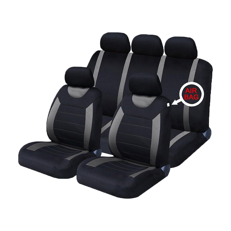 universal car seat covers full set sporty grey black washable airbag compatible ebay. Black Bedroom Furniture Sets. Home Design Ideas