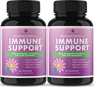 7 in 1 Immune Support - Extra Strength Immunity Booster with Elderberry, Vitamin C, Zinc, Echinacea, Astragalus, Goldenseal, Probiotic - Immunity for Adults, Immune Defense (120 Capsules)