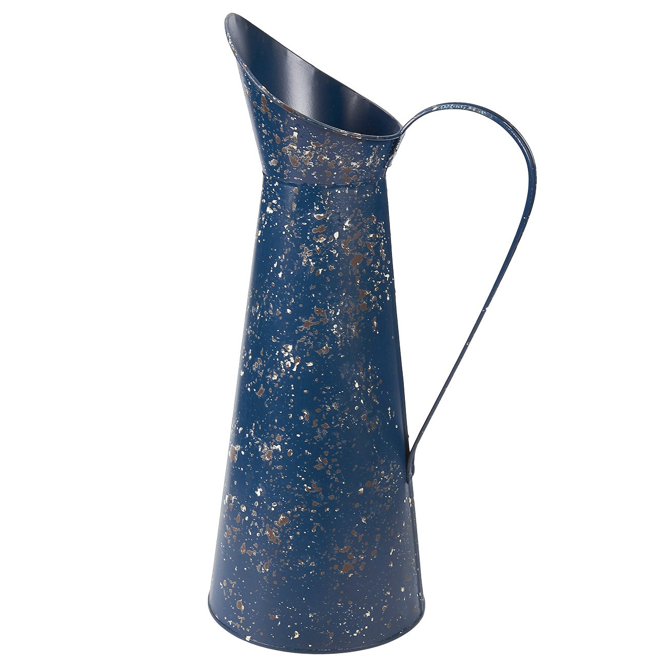 Decorative Rustic Watering Can - Galvanized Navy Blue Finshed Jug Vase Pitcher with Handle for Home Office Garden Decor, 8 x 15.8 x 6 Inches