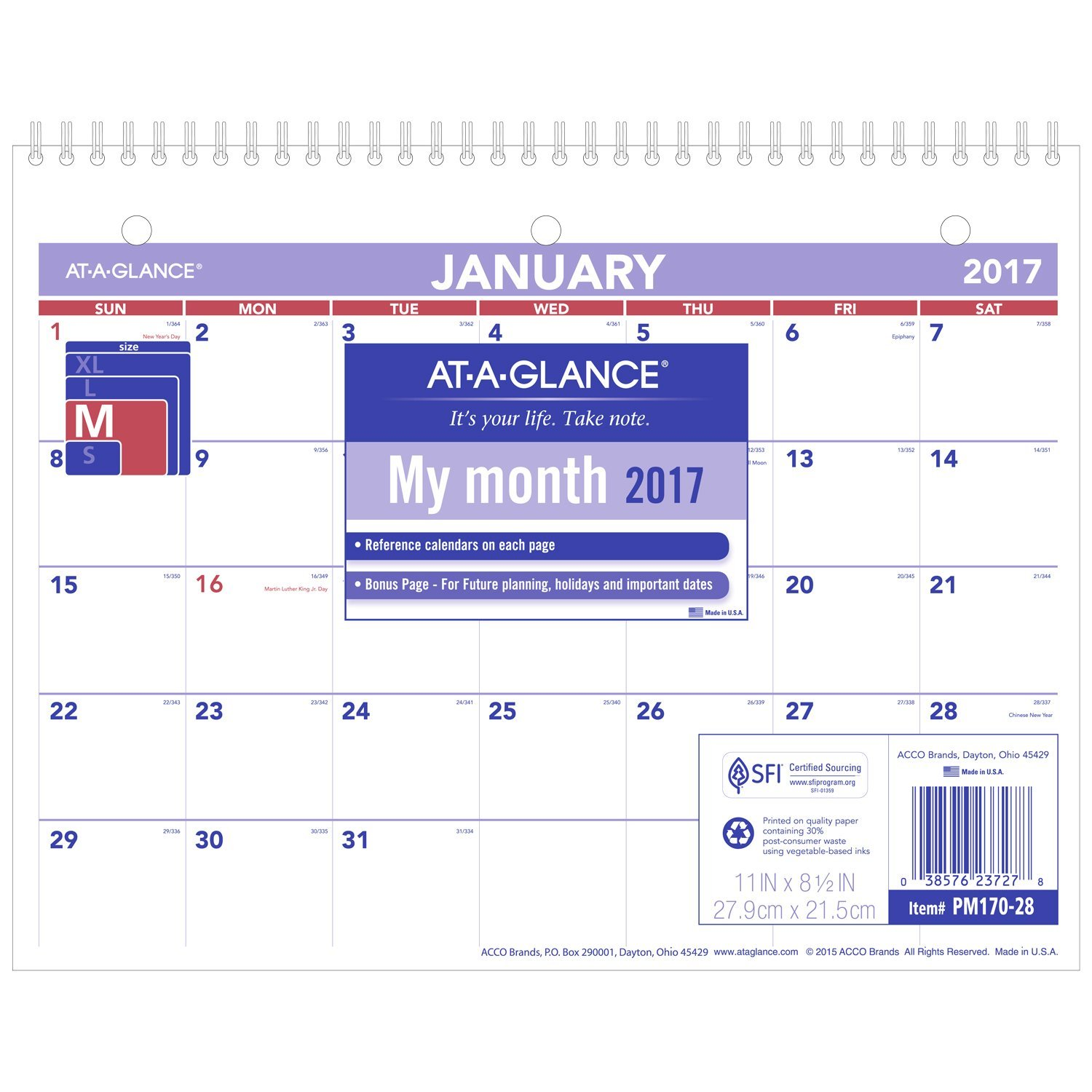 AT-A-GLANCE Wall Calendar 2017, Monthly, 11 x 8-1/2'', Unruled (PM170-28)