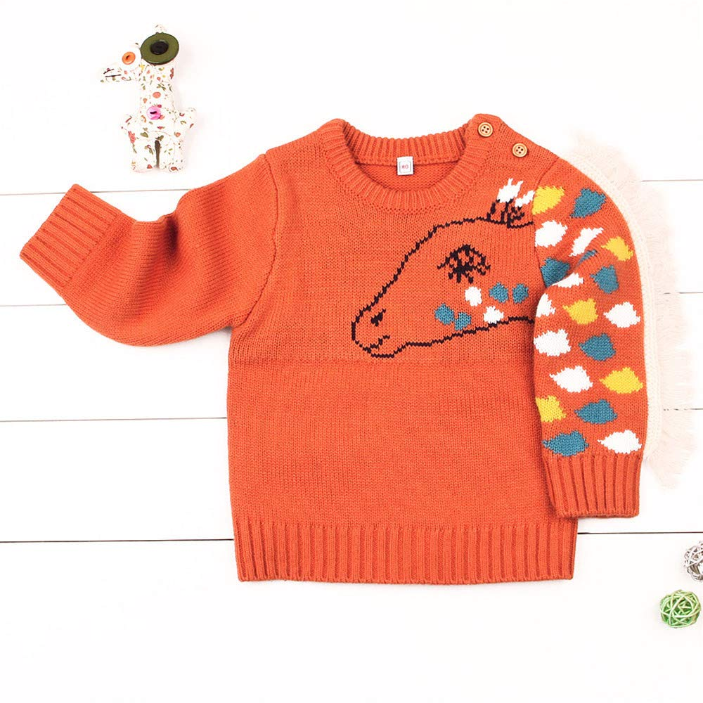 DIGOOD Toddler Newborn Baby Boys Girls Winter Clothes,Cartoon Horse Warm Tasssels Knitted Sweater Pullover Tops