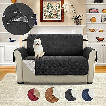 AOLVO Funda de Sofá Impermeable Anti-Sucio para Mascotas Protector de Sofá Muebles (Negro, 2 Plazas)