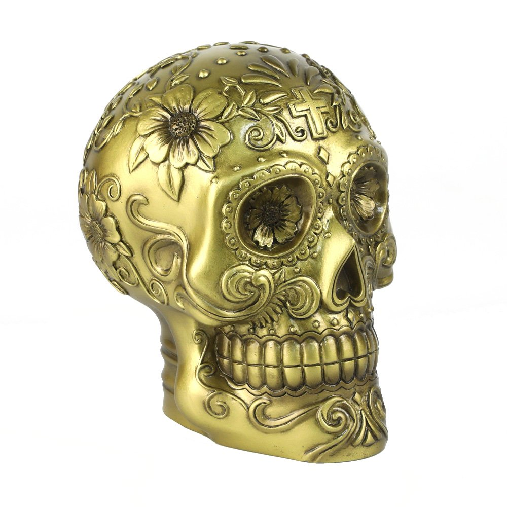 BC BINGO CASTLE Sugar Skull Decor Sculpture Statue Bronze Antique Brass Copper Imitation Home Skull Art Decorative with Floral Embossment 4.17 inch Hand Painted Polyresin