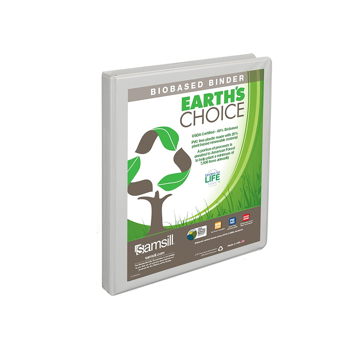 Samsill Earth's Choice Biobased View Binder, 3 Ring Binder, 1.5 Inch, Round Ring, Customizable, White, 4 Pack Samsill Corporation I08957