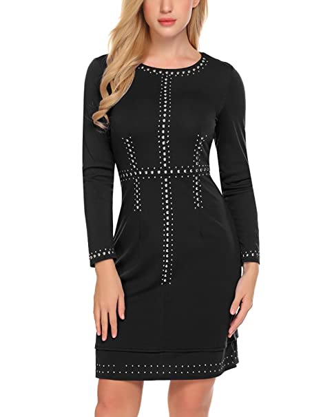 808fcecbae21 ELESOL Women's Long Sleeve Rhinestone Embellished Bodycon Dress Cocktail  Club Dress, Black, Small