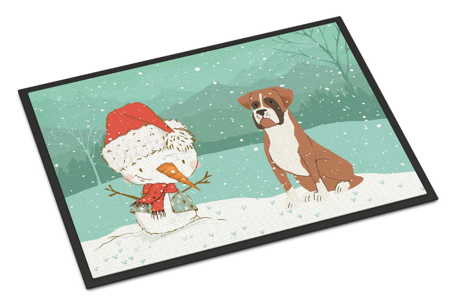 Carolines Treasures Fawn Boxer and Snowman Christmas Door Mat Multicolor