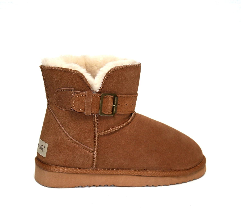 SUPER s6x Lammfell Stiefel kurz Schaft Damen Stiefel Australisches Lammfell, Lammfell Short Boots Cognac braun mit beigen Lammfell,