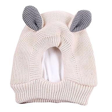 f81082d2aaf2 BOZEVON Bébé Bonnet Hiver Chaud 3D Cartoon Oreilles en Laine - Chapeau  Crochet Tricot Protection Oreille