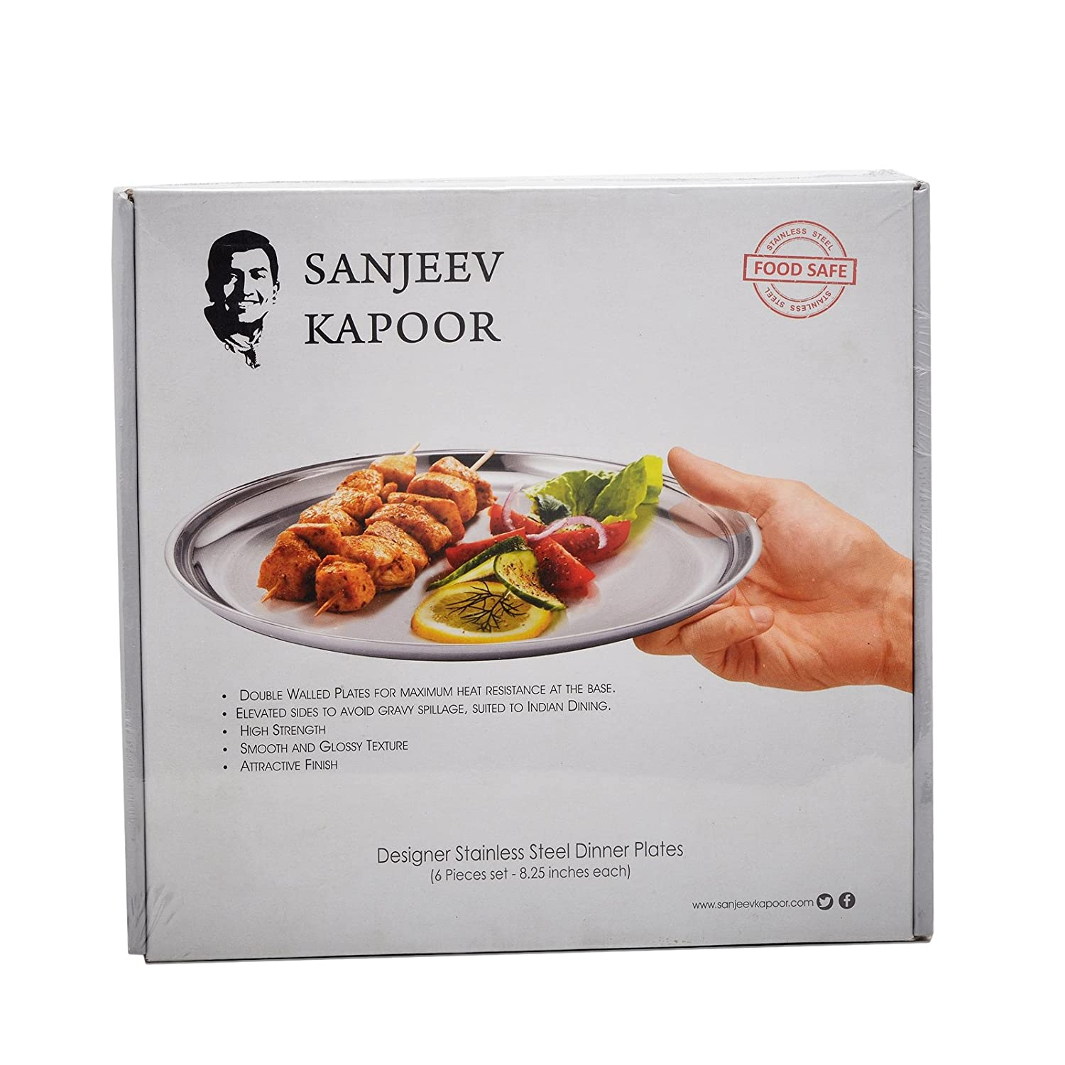 Buy sanjeev kapoor designer stainless steel dinner plates in silver buy sanjeev kapoor designer stainless steel dinner plates in silver mirror matt finish 825 6 pcs set online at low prices in india amazon forumfinder Image collections