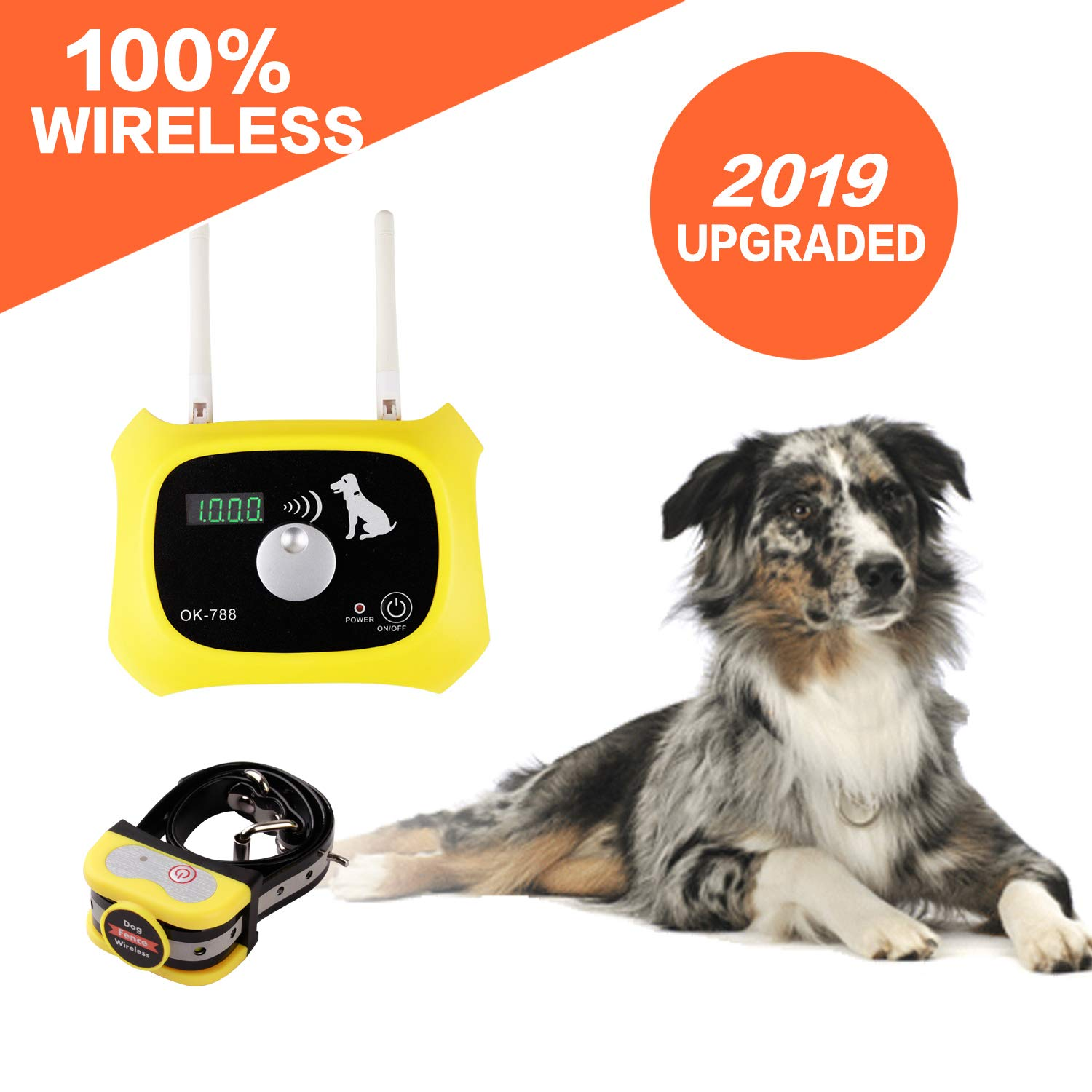 Wireless Dog Fence Electric Pet Containment System, Safe Effective Beep/Shock Design, Adjustable Control Range 1000 Feet & Display Distance, Rechargeable Waterproof Collar Receiver (1 Dog System)