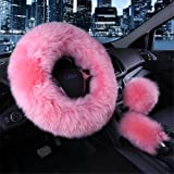 3Pcs Fashion Steering Wheel Covers - Silence Shopping Winter Warm Australia Pure Plush Soft Wool Handbrake Cover Gear Shift Cover Guard Truck Car Accessory 14.96