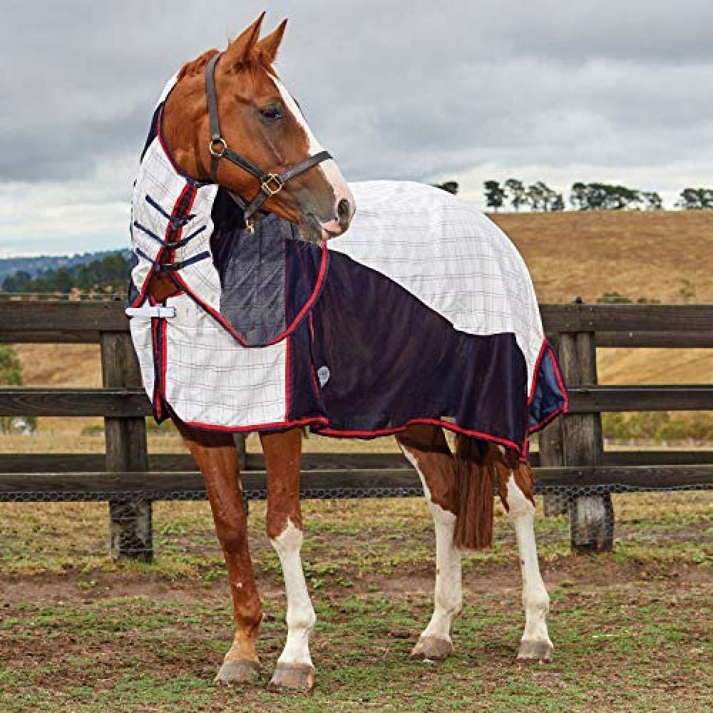 Weatherbeeta Breeze With Surcingle Combo Neck Turnout Blanket II (6 ft 3) (White/Navy/Red)