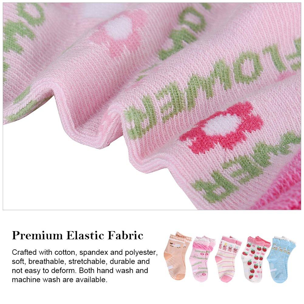 VBIGER 5/6/10 Pairs Toddler Boys and Girls Winter Socks Thick Warm Thermal Socks Cotton Socks Anti-Slip Grip Floor Stockings,Aged 0-5