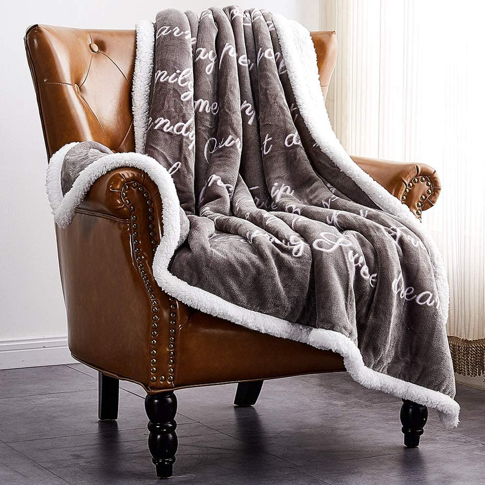 Rose Home Fashion RHF Super Soft Fleece Sherpa Comfort Caring Gift Throw Blanket, Fuzzy Blanket - Get Well Soon Gift for Women&Men - Plush Throw Blanket(Twin), Grey