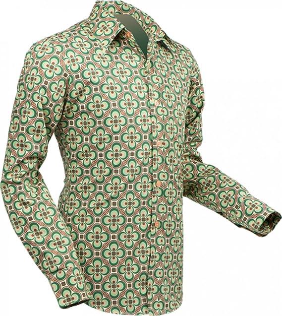 Pete Chenaski chena Esquí Camisa dotsgrid Crema de Green, Retro Años 70 Creme-Green S: Amazon.es: Ropa y accesorios