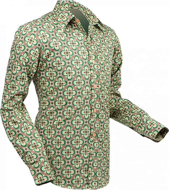 1960s – 70s Mens Shirts- Disco Shirts, Hippie Shirts 70s retro Shirt Dotsgrid creme-green Retro 70s retro �39.56 AT vintagedancer.com