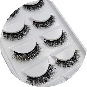a1913f99327 Amazon.com : 5 Pairs 3D Eyelashes Soft Mink False Eyelashes Handmade Wispy  Fluffy Natural Long Lashes Eye Lashes Cilios Mink Makeup, G803 : Beauty