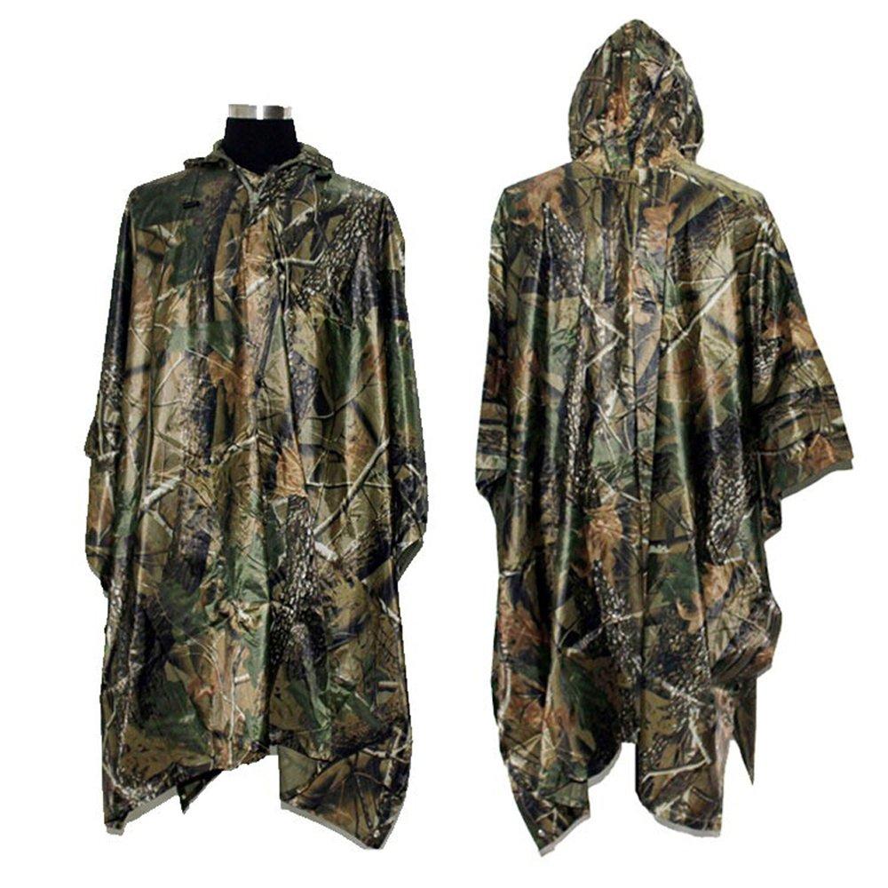 Rain Poncho, LOOGU Waterproof Camouflage Rain Coat Outdoor Camo Shelter Ground Sheet by Rain Poncho (Image #1)