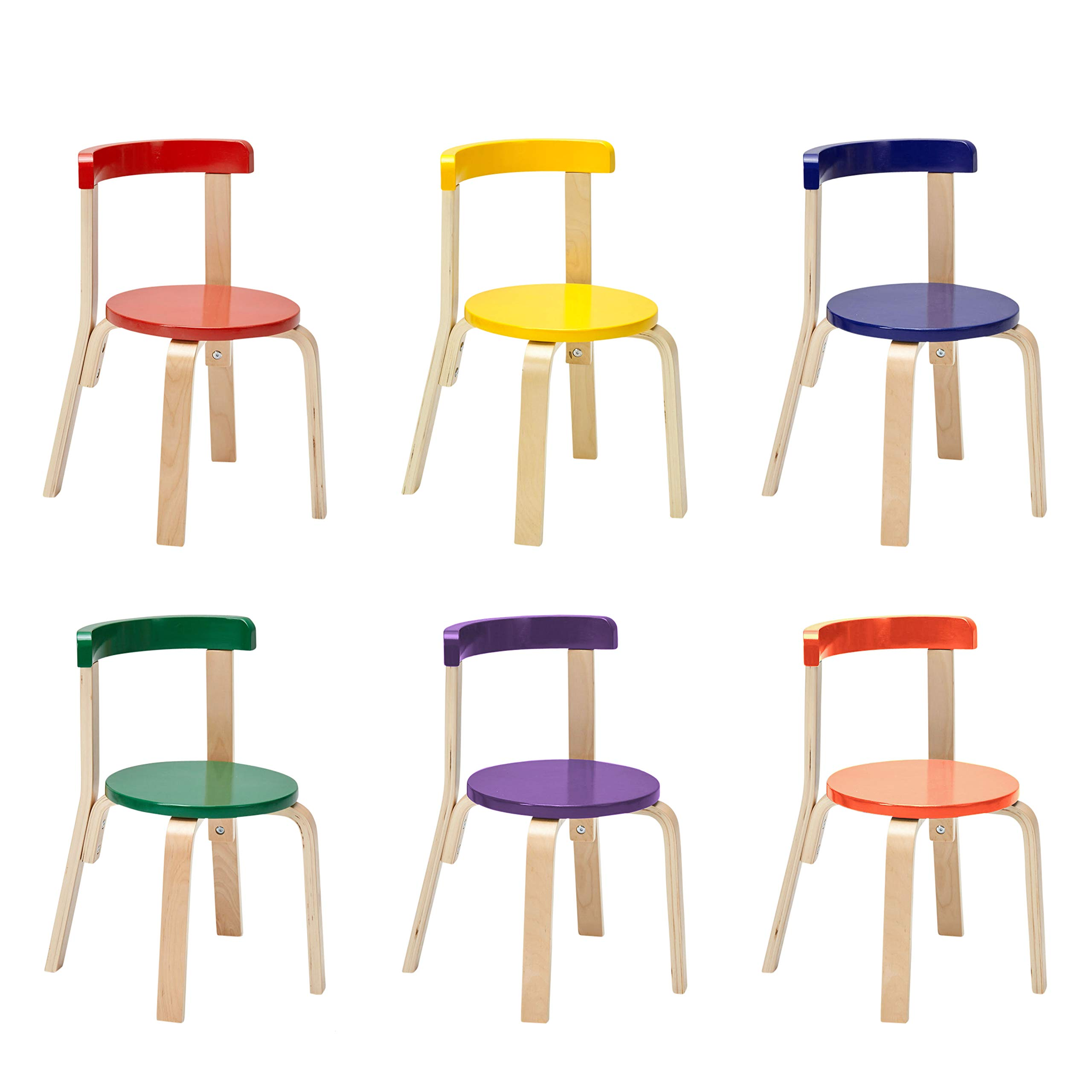 ECR4Kids Bentwood Curved Back Chair 6-Pack, Sturdy Backed Stools for Kids and Toddlers, Assorted Colors (Set of 6)