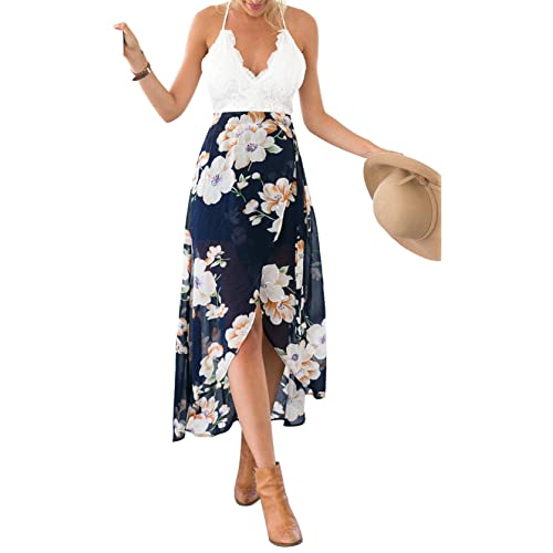 Womens Floral Summer Chiffon Dresses Boho Evening Dress Cocktail Party Ball Gown Maxi Dresses Ladies Long