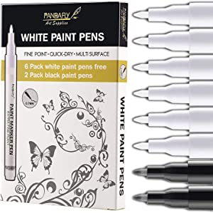 White Paint Pens, 8 Pack 0.7mm Acrylic Permanent Marker 6 White With 2 Black Paint Pens for Wood Rock Plastic Leather Glass Stone Metal Canvas Ceramic Marker Extra Very Fine Point Opaque Ink