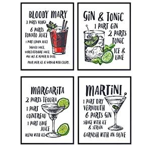 Cocktail Bar Decor Wall Art Poster Prints Set - Unique Home Decoration for Man Cave, Living Room, Den, Kitchen - Gift for Bartenders and Gin and Tonic, Martini, Bloody Mary and Margarita Fans, 8x10