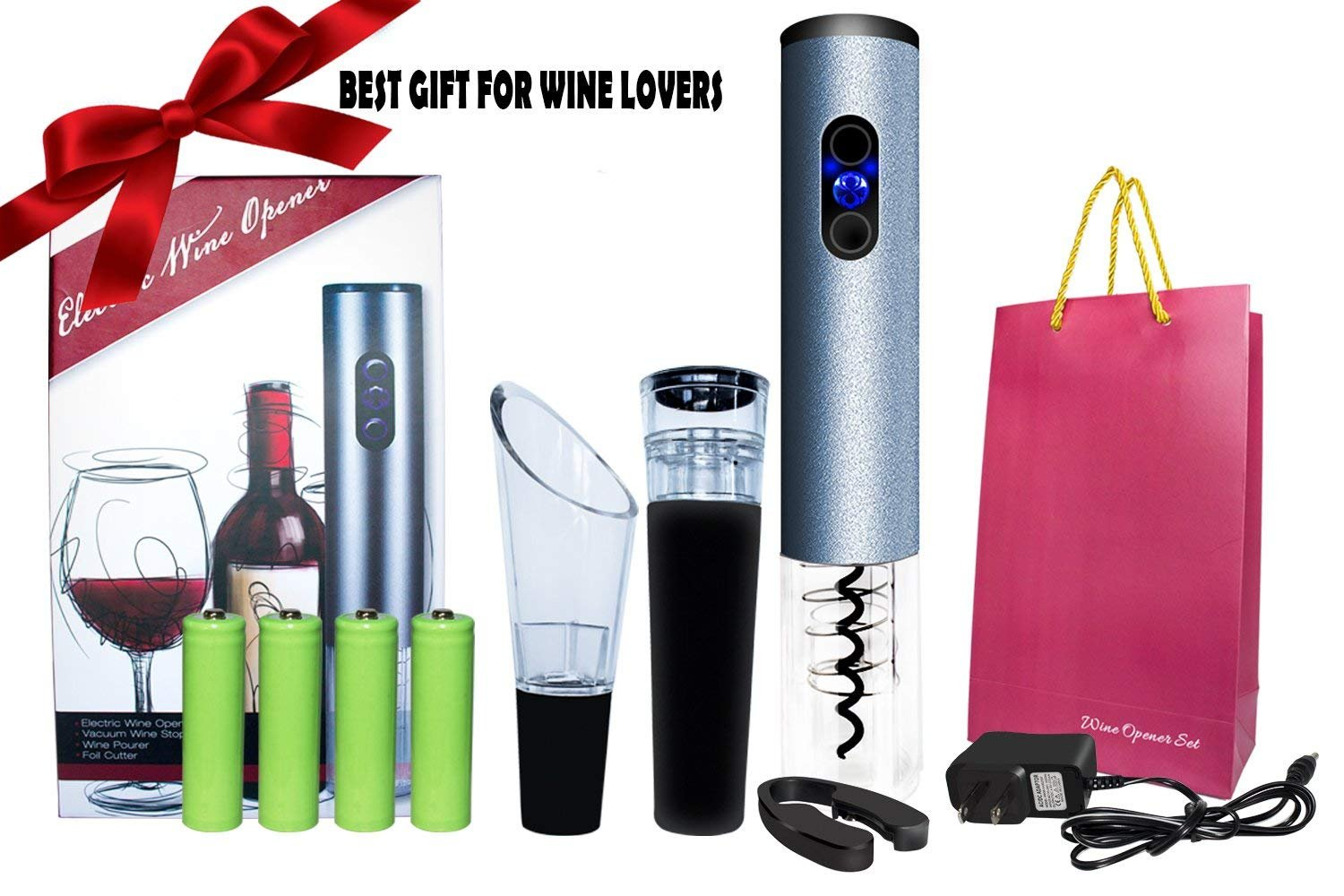 Wine Bottle Opener Kit, Best Kitchen Aid for Wine Bottle, Electric Wine Opener Battery Operated with Battery Charger, Perfect Present Idea
