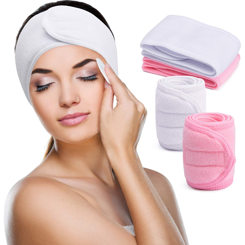 Spa Yoga Headband for Women, Terry Cloth Sports Headband with Wide Elastic, Stretch Towel Scarf Facial Head Wrap for Washing Making Up Bath - (Pink ...