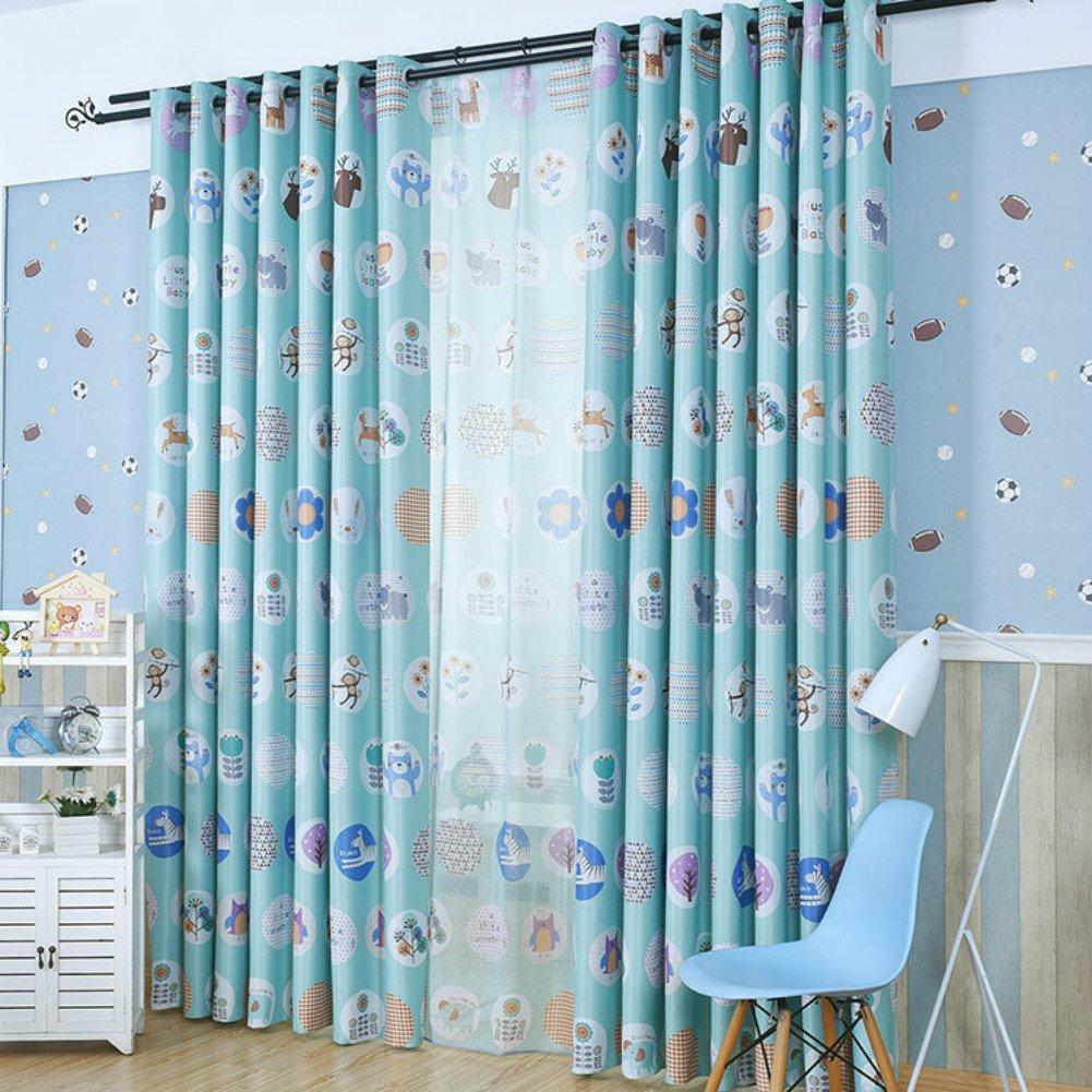 Zimmer Verdunkelungs vorh/änge f/ür Kinderzimmer,2er-Set HXB 140cmX120cm adaada Tier-Stil Kinder vorh/änge mit /Öse , Blau