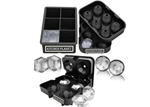 Kitchen Planet Ice Cube Trays Silicone Variety - Set of 3, Large Ice Cube Mold for Whiskey or Drinks, Sphere Ice Ball Maker & Diamond Ice Cube Tray with Lids, Improved Design 2019