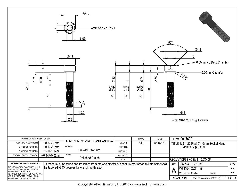 Inc Ti-6Al-4V Allied Titanium 0017678, 673814001 Pack of 5 M8-1.25 Pitch X 40mm Socket Head Cap Screw Grade 5