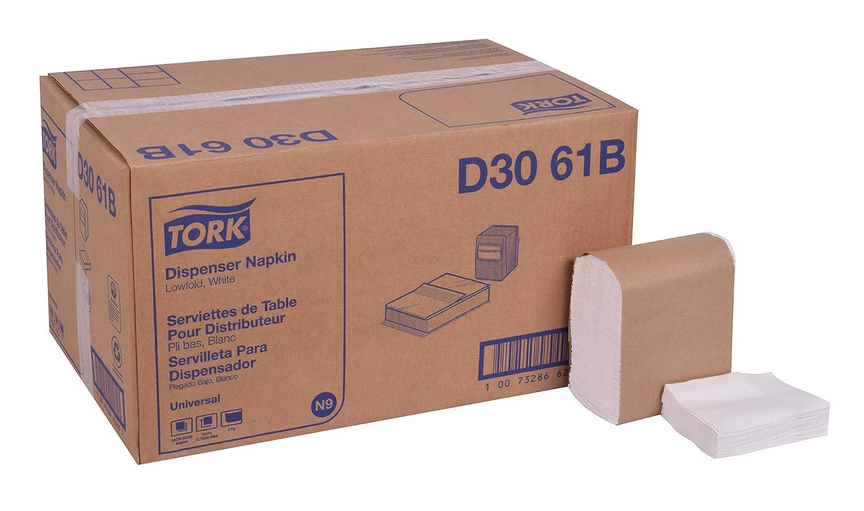 """Tork Universal D3061B Lowfold Dispenser Napkin, Overall Embossed, 1-Ply, 12"""" Length x 7"""" Width, White (Case of 24 Packs, 334 per Pack, 8,016 Napkins)"""