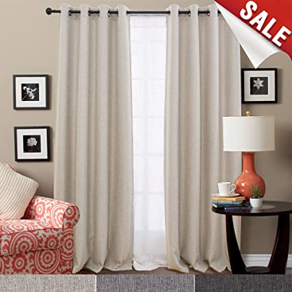 Amazon.com: Linen Textured Room Darkening Curtains for Bedroom ...