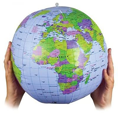 INFLATABLE BLOW UP WORLD GLOBE ATLAS WORLD MAP EARTH EDUCATIONAL: Toys & Games